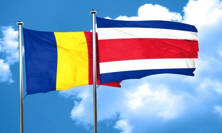 romania flag: Romania flag with Costa Rica flag, 3D rendering