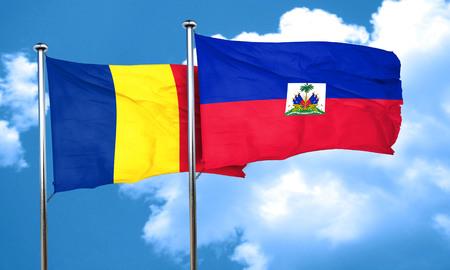 romania flag: Romania flag with Haiti flag, 3D rendering Stock Photo