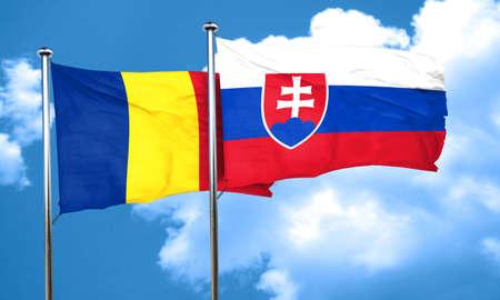 slovakia flag: Romania flag with Slovakia flag, 3D rendering