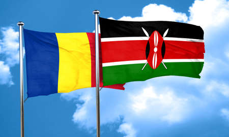 romania flag: Romania flag with Kenya flag, 3D rendering