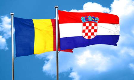 croatia: Romania flag with Croatia flag, 3D rendering