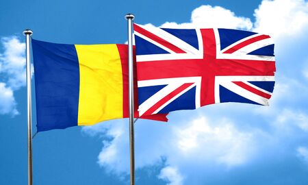 british culture: Romania flag with Great Britain flag, 3D rendering