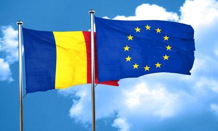 european culture: Romania flag with european union flag, 3D rendering