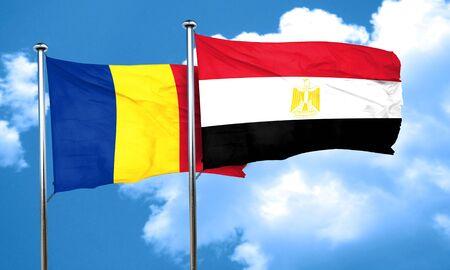 bandera de egipto: bandera de Rumania con la bandera de Egipto, 3D