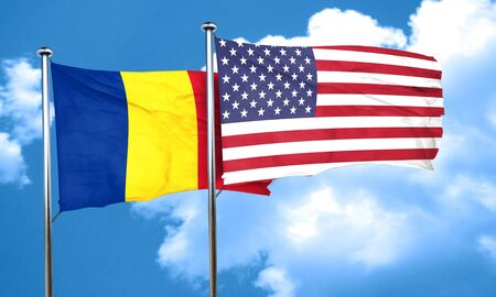 romania flag: Romania flag with American flag, 3D rendering
