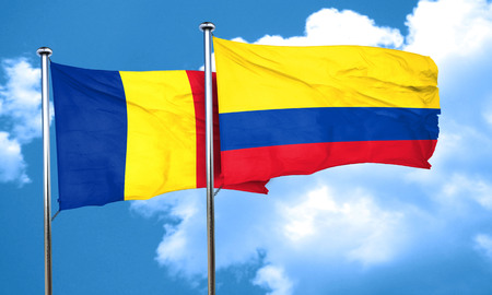 romania flag: Romania flag with Colombia flag, 3D rendering