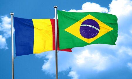 romania flag: Romania flag with Brazil flag, 3D rendering