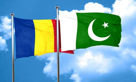romania flag: Romania flag with Pakistan flag, 3D rendering Stock Photo
