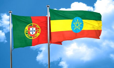 portugese: Portugal flag with Ethiopia flag, 3D rendering
