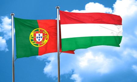 portugese: Portugal flag with Hungary flag, 3D rendering Stock Photo