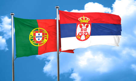 portugese: Portugal flag with Serbia flag, 3D rendering Stock Photo