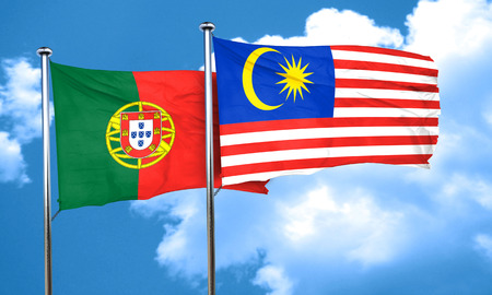 drapeau portugal: Portugal flag with Malaysia flag, 3D rendering Banque d'images