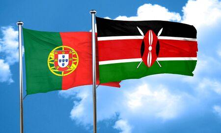 drapeau portugal: Portugal drapeau avec le drapeau du Kenya, le rendu 3D
