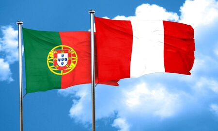 bandera de peru: Bandera de Portugal con la bandera de Perú, 3D Foto de archivo