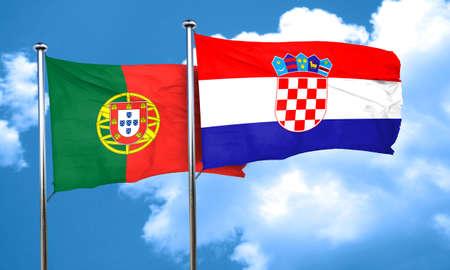 croatia flag: Portugal flag with Croatia flag, 3D rendering Stock Photo