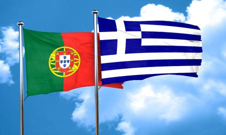 bandera de portugal: Bandera de Portugal con el indicador de Grecia, 3D Foto de archivo
