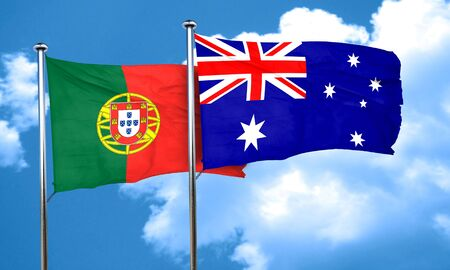 portugese: Portugal flag with Australia flag, 3D rendering Stock Photo