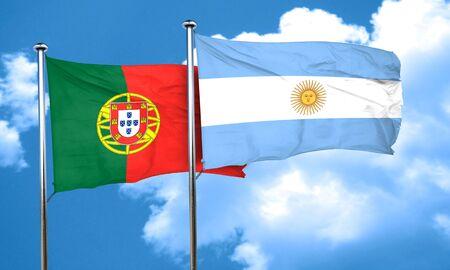 drapeau portugal: Portugal drapeau avec le drapeau argentin, rendu 3D