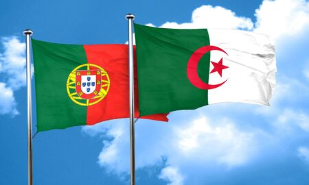 portugese: Portugal flag with Algeria flag, 3D rendering