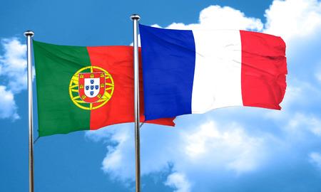 drapeau portugal: Drapeau du Portugal avec la France drapeau, rendu 3D