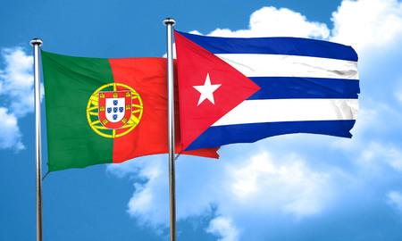 cuba flag: Portugal flag with cuba flag, 3D rendering Stock Photo