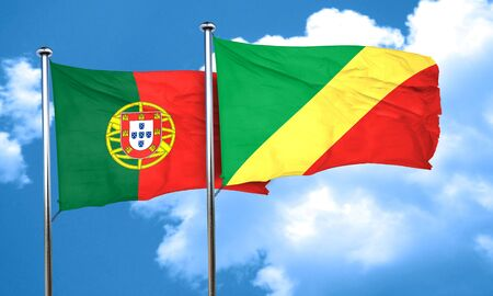 congo: Portugal flag with congo flag, 3D rendering