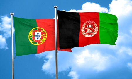portugal flag: Portugal flag with afghanistan flag, 3D rendering Stock Photo