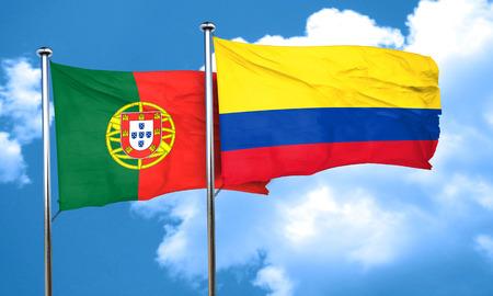 drapeau portugal: Portugal drapeau avec le drapeau de la Colombie, le rendu 3D