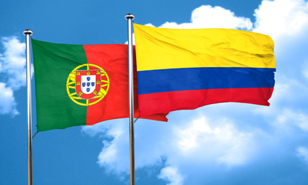 portugese: Portugal flag with Colombia flag, 3D rendering Stock Photo