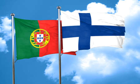 FINLAND flag: Portugal flag with Finland flag, 3D rendering