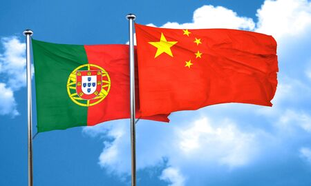 portugese: Portugal flag with China flag, 3D rendering
