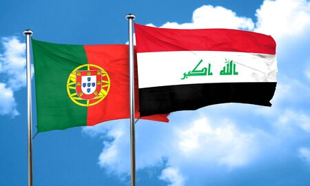 portugese: Portugal flag with Iraq flag, 3D rendering