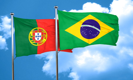 portugese: Portugal flag with Brazil flag, 3D rendering Stock Photo