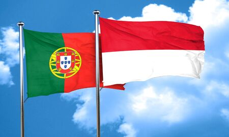 portugese: Portugal flag with Indonesia flag, 3D rendering