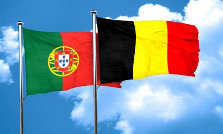 drapeau portugal: Drapeau du Portugal avec la Belgique drapeau, rendu 3D