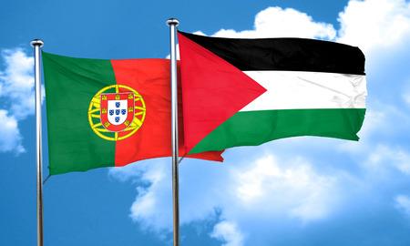 palestine: Portugal flag with Palestine flag, 3D rendering