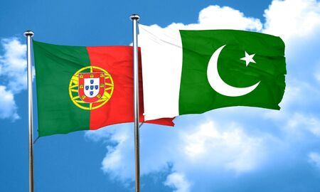 portugese: Portugal flag with Pakistan flag, 3D rendering