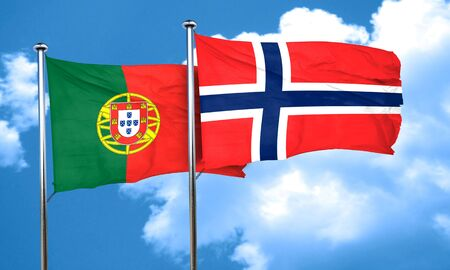 norway flag: Portugal flag with Norway flag, 3D rendering Stock Photo