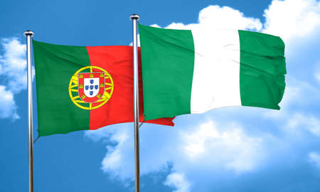 portugal flag: Portugal flag with Nigeria flag, 3D rendering Stock Photo