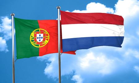 portugal flag: Portugal flag with Netherlands flag, 3D rendering