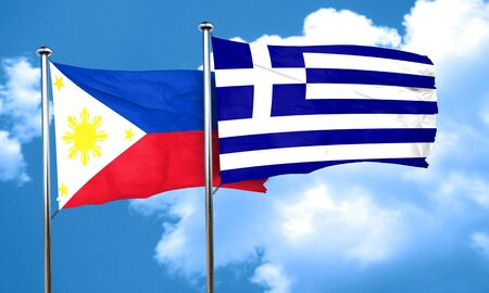 philippino: Philippines flag with Greece flag, 3D rendering