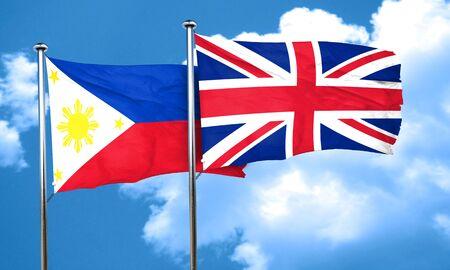 bandera de gran breta�a: Philippines flag with Great Britain flag, 3D rendering Foto de archivo