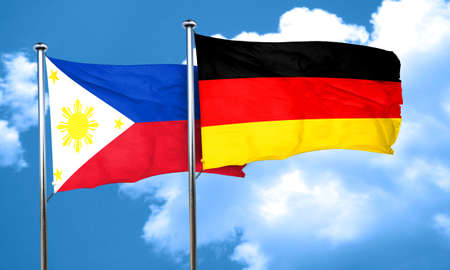 philippino: Philippines flag with Germany flag, 3D rendering