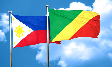 Congo: Philippines flag with congo flag, 3D rendering