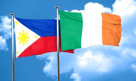 philippino: Philippines flag with Ireland flag, 3D rendering