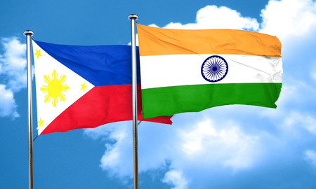 philippino: Philippines flag with India flag, 3D rendering