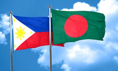 philippino: Philippines flag with Bangladesh flag, 3D rendering Stock Photo