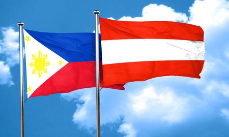 austria flag: Philippines flag with Austria flag, 3D rendering