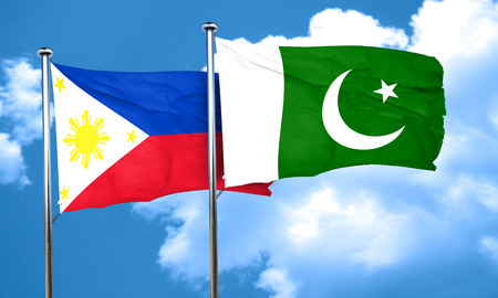 philippino: Philippines flag with Pakistan flag, 3D rendering Stock Photo