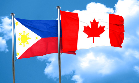 philippino: Philippines flag with Canada flag, 3D rendering